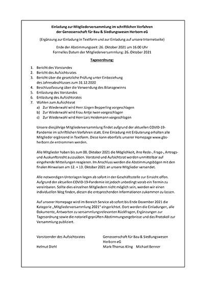 Einladung zur MitgIiederversammIung 2021 im schriftlichen Verfahren der Genossenschaft für Bau & Siedlungswesen Herborn eG