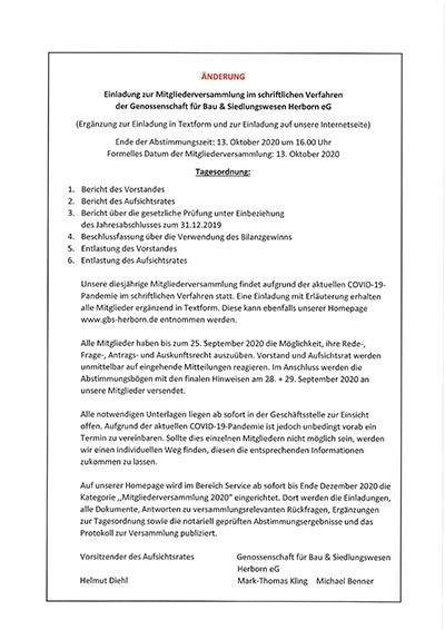 Einladung zur MitgIiederversammIung im schriftlichen Verfahren der Genossenschaft für Bau & Siedlungswesen Herborn eG