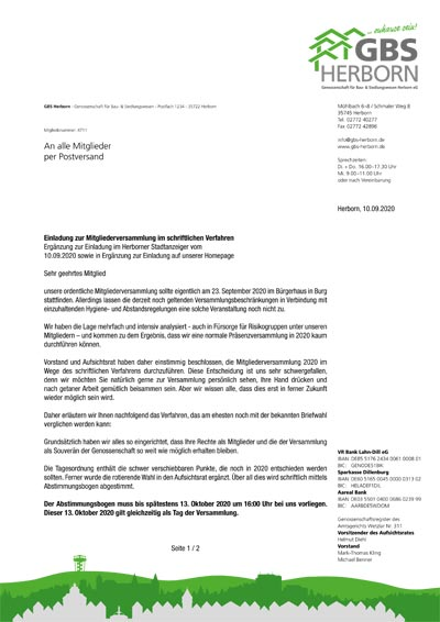 Mailing Einladung zur MitgIiederversammIung im schriftlichen Verfahren der Genossenschaft für Bau & Siedlungswesen Herborn eG