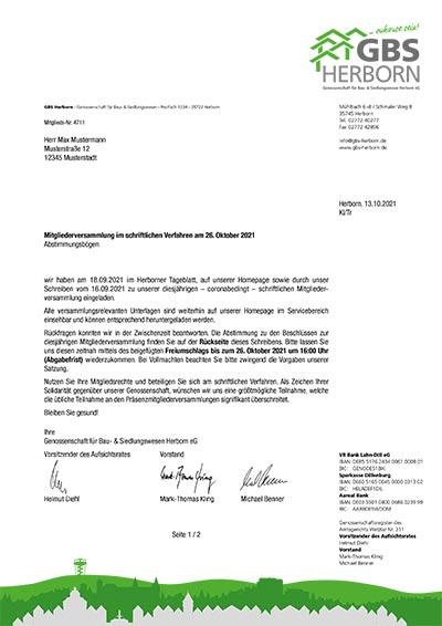 GBS Herborn Mitgliederversammlung 2021 - Begleitschreiben zum Abstimmungsbogen