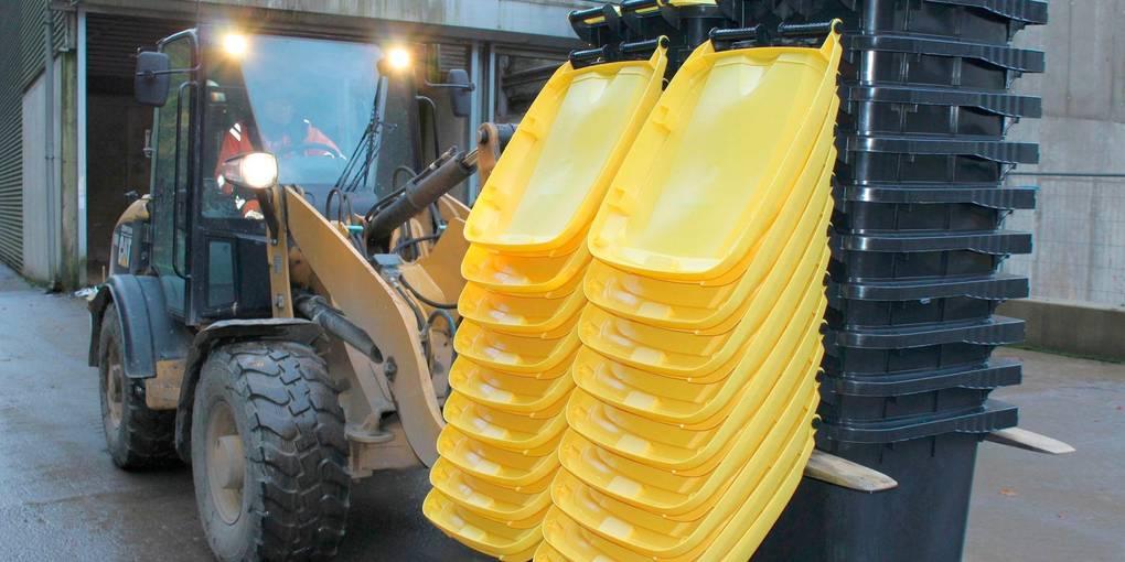 Gelbe Tonnen werden im Lahn-Dill-Kreis ausgeliefert, Foto: AWLD